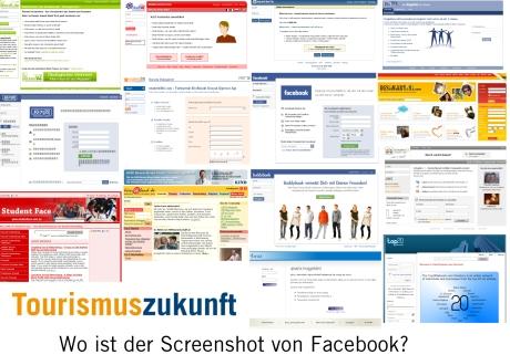 Screenshot von Facebook und ähnlichen Social Networking Systemen als Suchspiel