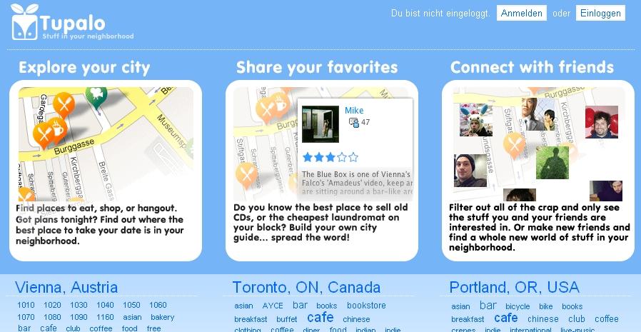 Screenshot von Tupalo Startseite