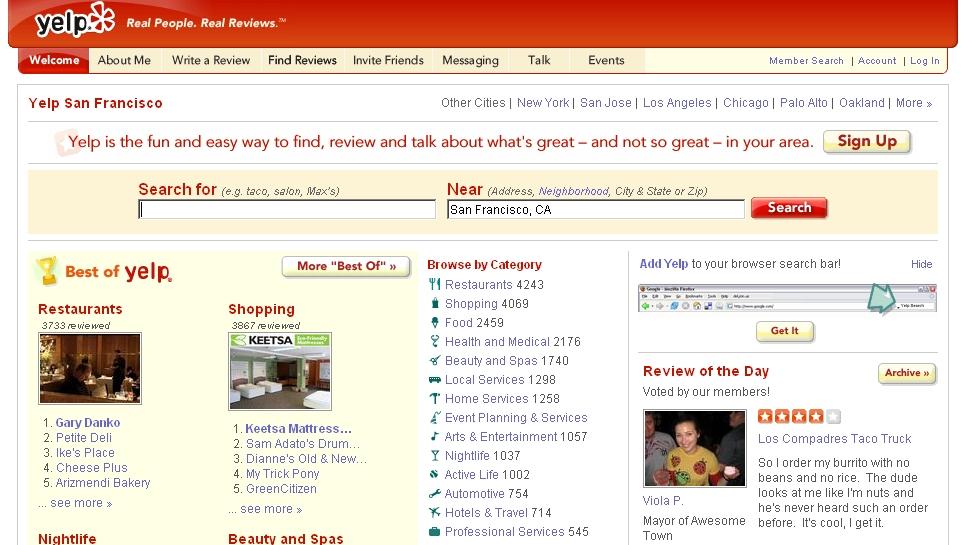 Yelp.com - Screenshot der Startseite