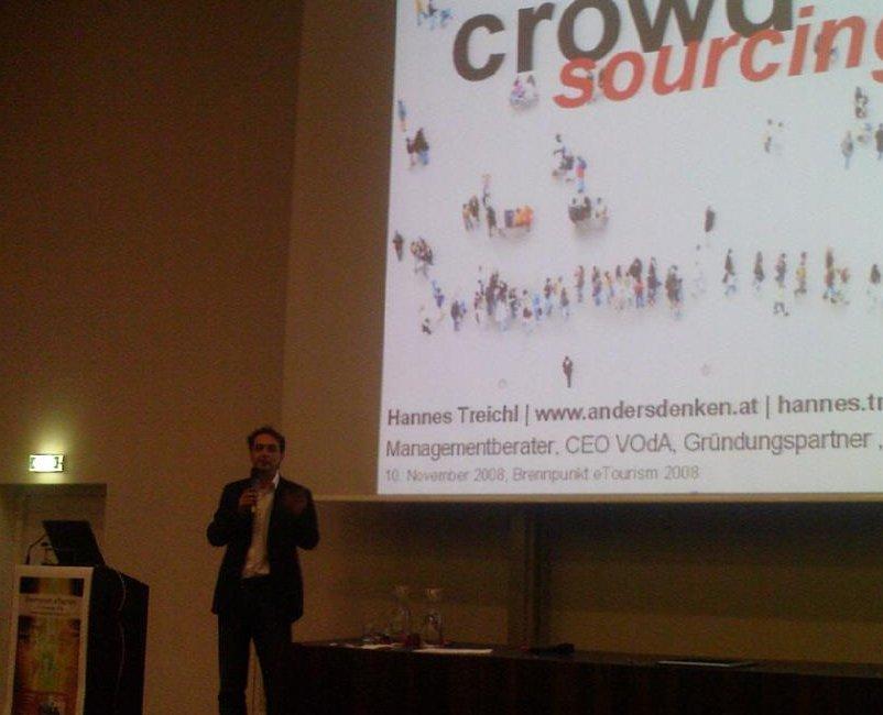 Bild vom Vortrag Crowdsourcing als Erläuterung zum Brennpunkt eTourism 2008 in Salzburg