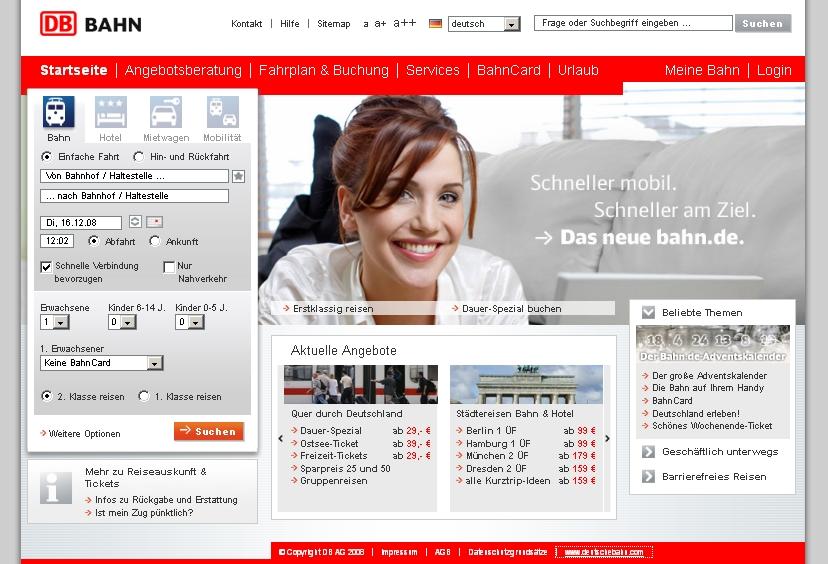 Screenshot der Webseite www.bahn.de