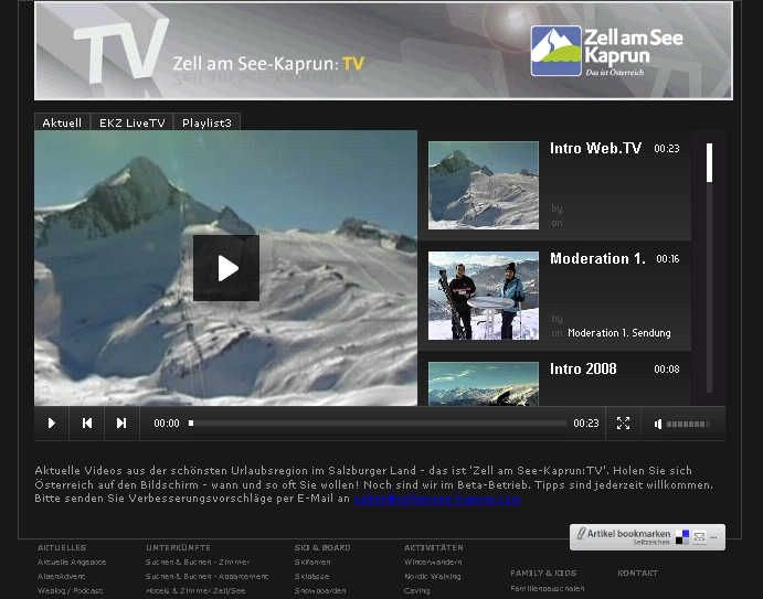 Screenshot Web TV Videoportal von Zell am See und Kaprun