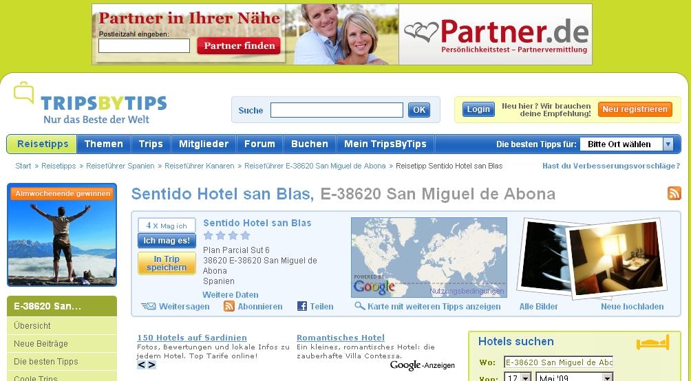Screenshot TripsbyTips Bewertungen zum Hotel Sentido San Blas