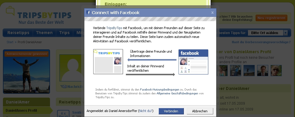 Screenshot Facebook Connect Autorisierung