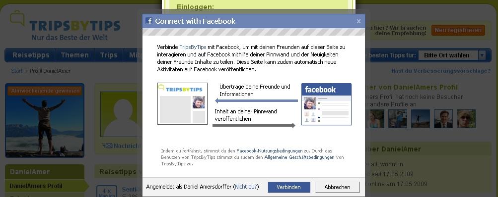 Screenshot Facebook Connect Autorisierung