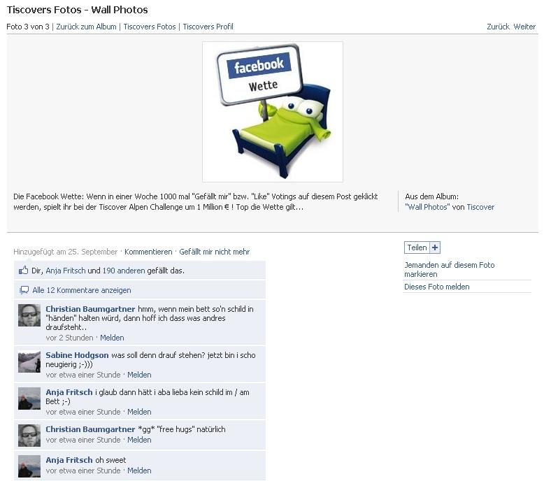 Tiscover Facebook Wette