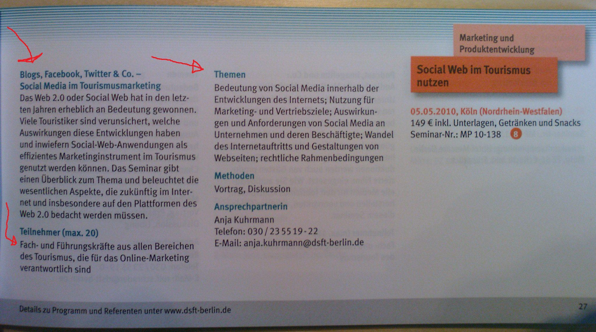 dsft Seminar - Programmübersicht Social Web im Tourismus