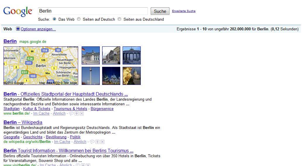 Universal Search im Tourismus am Bsp Berlin und die Veränderung von Suchmaschinenoptimierung im Tourismus