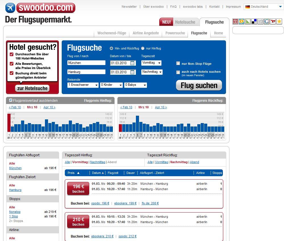 Ergebnisse der Flugsuche mit Swoodoo - Tourismuszukunft schaut eTourismus Entwicklungen an