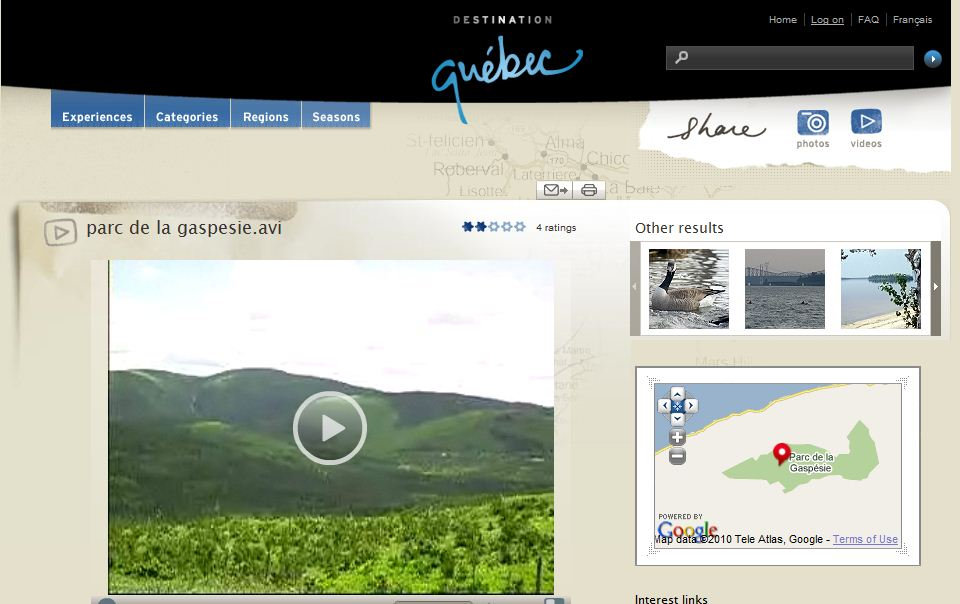Webseite mit user Generated content der Destination und Region Quebec in Kanada