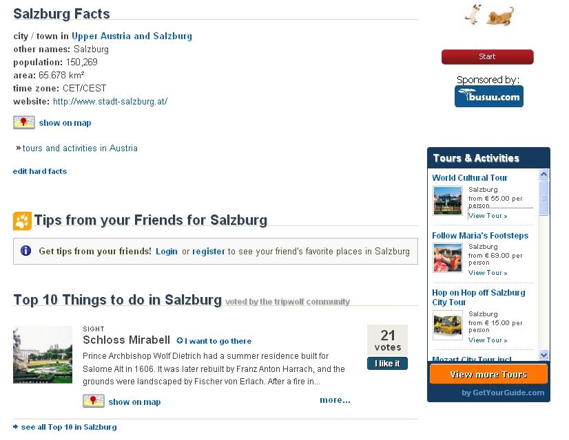 Screenshot des GetYourGuide-Widgets bei Tripwolf