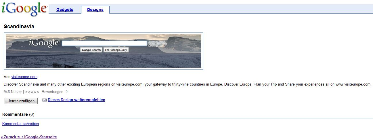 iGoogle Scandinavia Designauswahl Screenshot