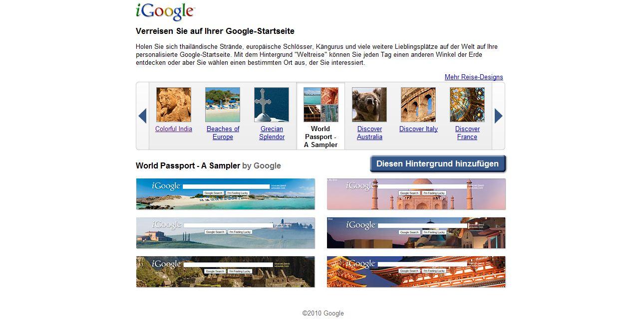 Screenshot Hintergründe für iGoogle