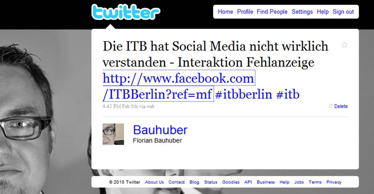 Tweet zur ITB Kommunikation