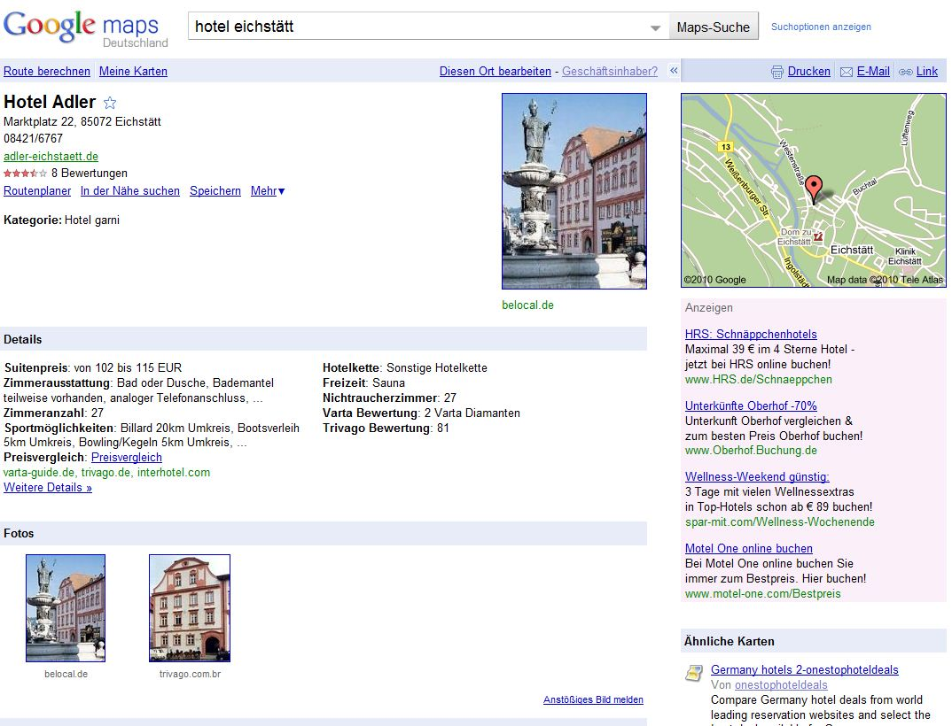 Screenshot Google Place Eintrag