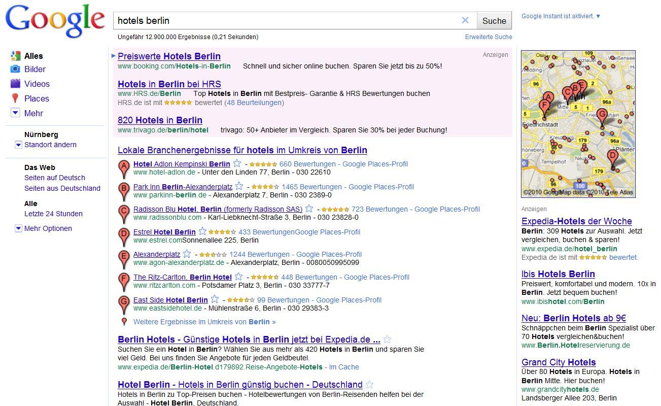 Google search mit Google Places und normalen Suchtreffern
