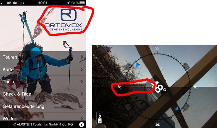 Screenshot der mobile App vom Ortovox - Überblick und Hangeigungsmesser in Action