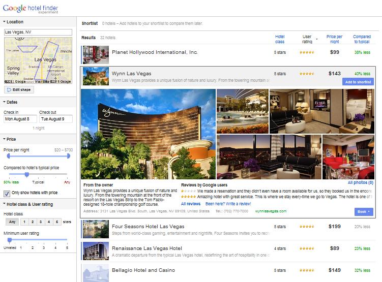 Hotelfinder Hotelliste