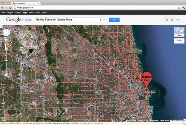 Google Maps mit eingeblendeten Places