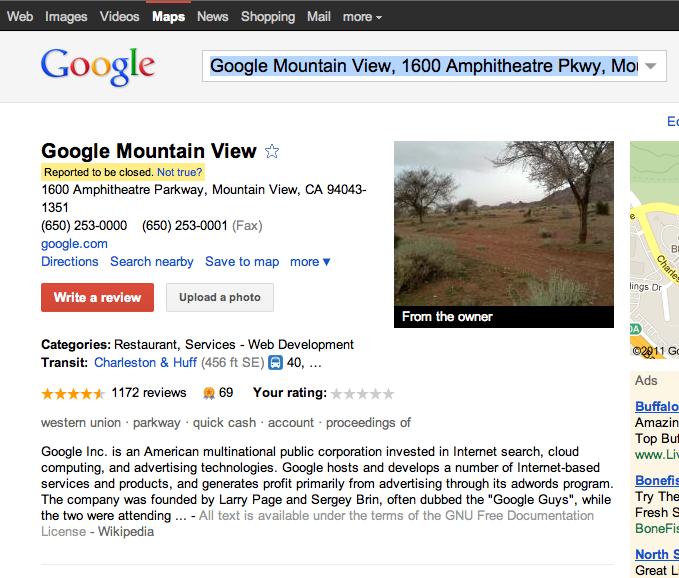 Googles Google Place geschlossen