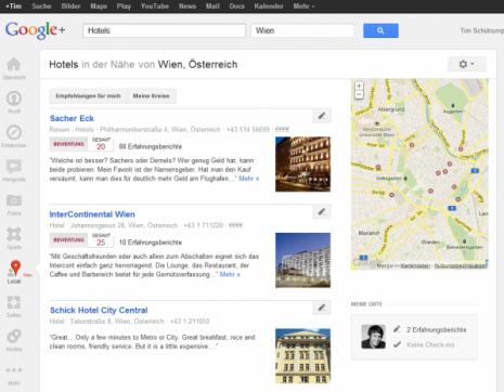 Screenshot von der Places-Ansicht in Google+