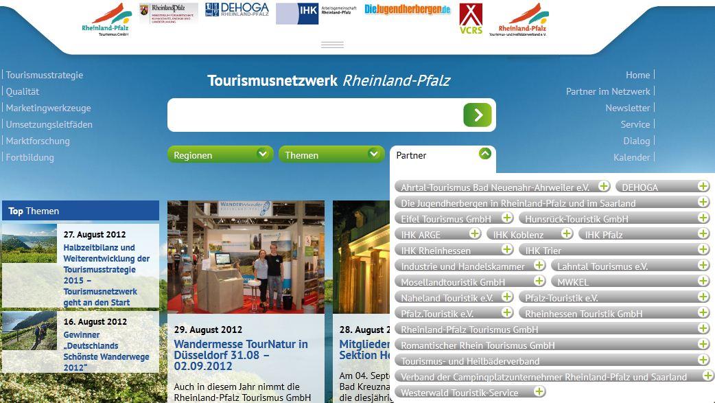 Startseite mit Anbieterauswahl des Tourismusnetzwerk Rheinland-Pfalz