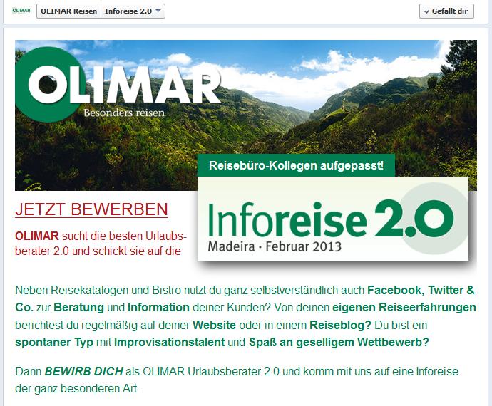 """""""Facebook App zur Inforeise 2.0"""""""