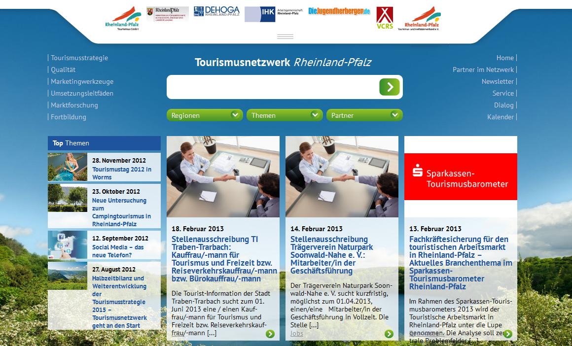 Social Media Integration im B2B-Segement auf tourismusnetzwerk.info