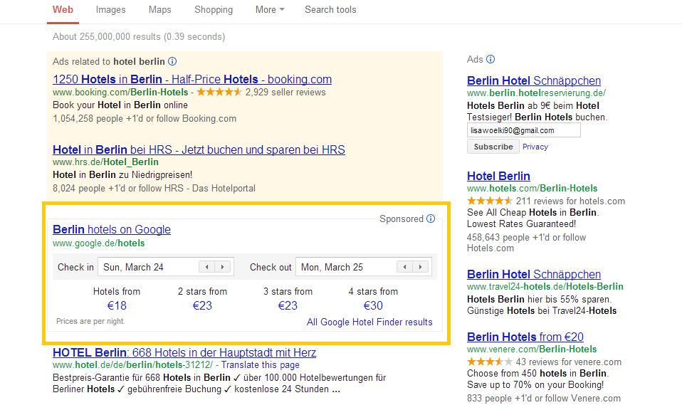 Ergebnisse Hotel Berlin mit Umrandung Der Google Hotelfinder – jetzt in den deutschen Suchergebnissen integriert