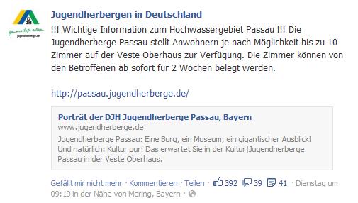 Facebookpost zum Hochwasser von Jugendherbergen in Deutschland
