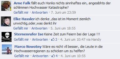 Negative Kommentare in Facebook zum Hochwasser