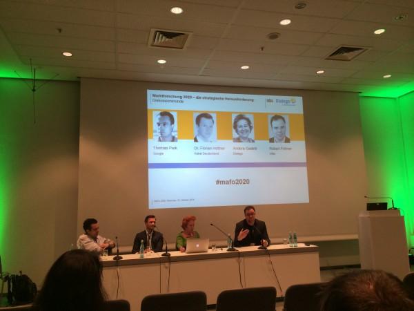 Teilnehmer an der Diskussionsrunde zum Thema Marktforschung 2020 auf der Research&Results 2014
