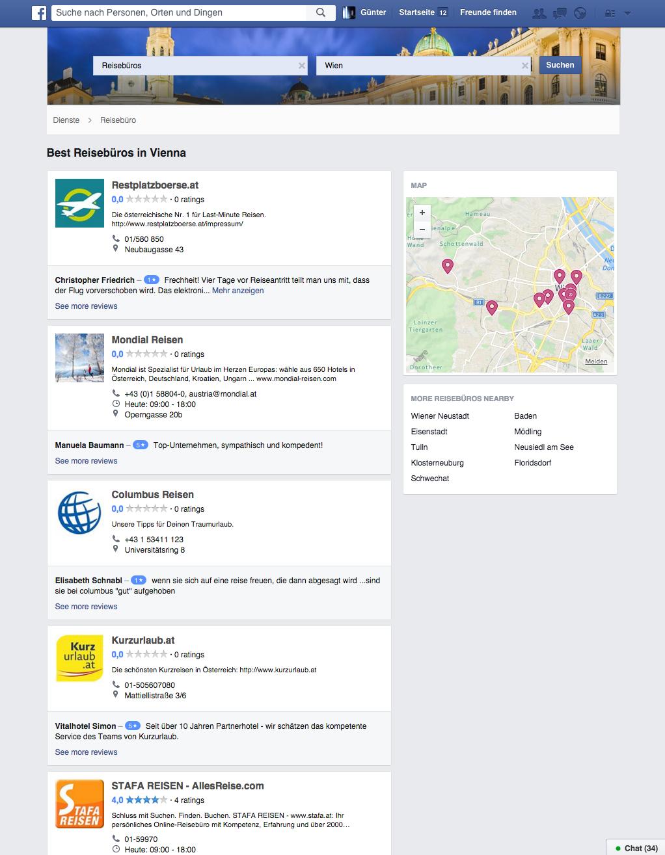 Facebook Services - Suche nach Reisebüros in Wien