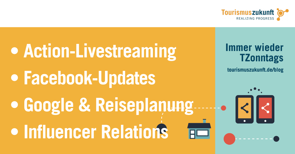 Action-Livestreaming, Facebook-Updates, Google & Reiseplanung, Influencer Relations