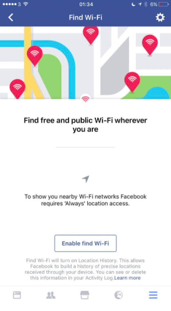 Find Wi-Fi Connections on Facebook