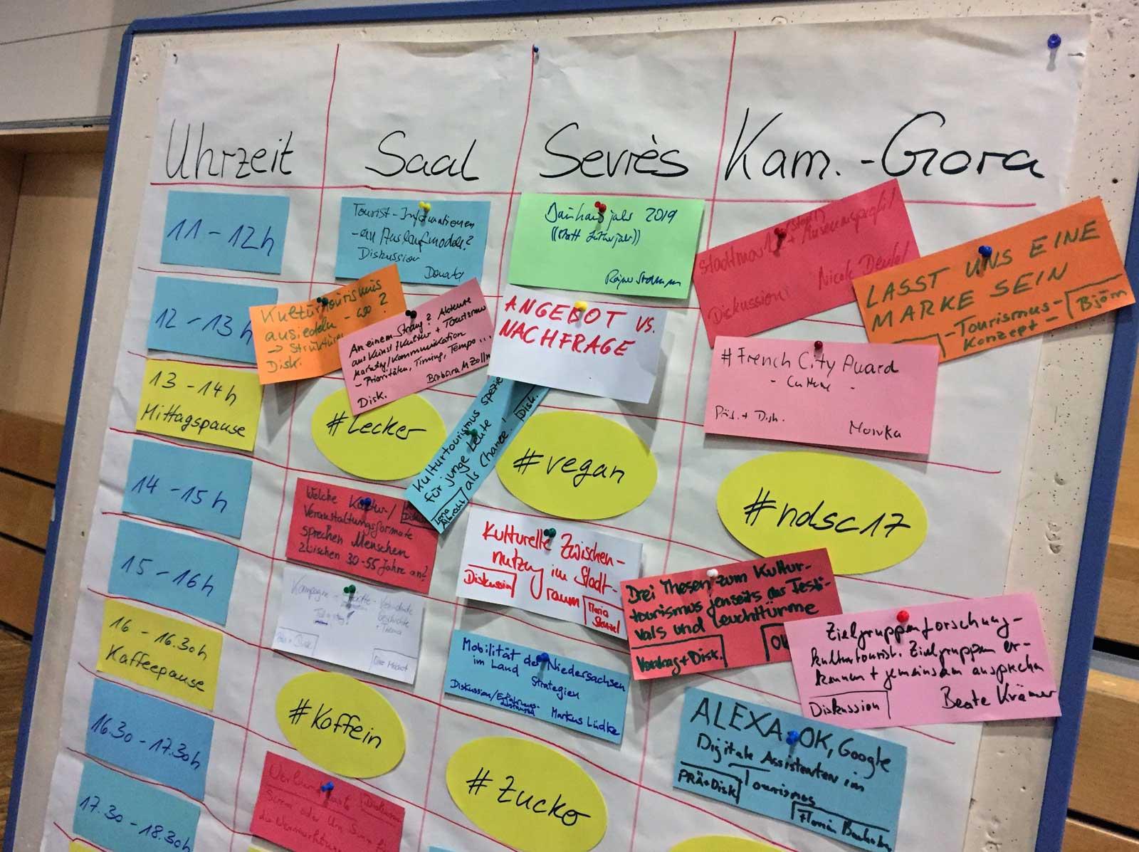 Das prall gefüllte Session-Board beim Niedersachsencamp